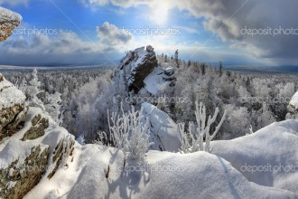 Winter forest in Ural Mountains